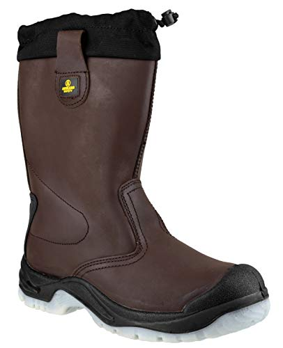 Amblers Safety mens Amblers Safety Mens FS219 Pull On Leather Safety Rigger Boots Brown Black Leather UK Size 10 (EU 44, US 11)