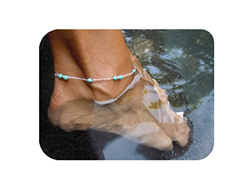 Daycindy Multi-layer Turquoise Beads Chain Anklet Bracelets for Women, Silver