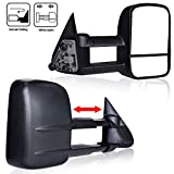 4XBEAM Towing Mirrors Passenger And Driver Side Mirror Manual Telescoping Fits 99-07 Chevy Silverado GMC Sierra 1500 2500 3500 2000-2006 Chevy Tahoe Suburban 1500 2500 GMC Yukon XL DOT Approved