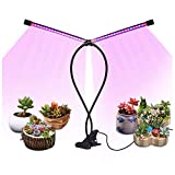 FYLINA LED Grow Light for Indoor Plants- ON/Off Timer, Desk Grow Lamp for Seedling, 18W Dual Head 40 LED Chips, 8 Dimmable Modes, 3/9/12H Timing, Adjustable Goose Neck for Greenhouse Gardening
