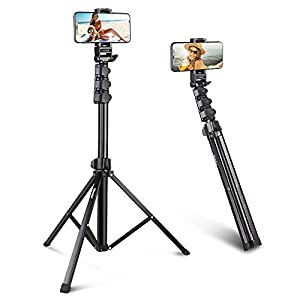 "UBeesize 67"" Phone Tripod Stand & Selfie Stick Tripod, All in One Professional Cell Phone Tripod, Cellphone Tripod with Bluetooth Remote and Phone Holder, Compatible with iPhone, Android Phones"