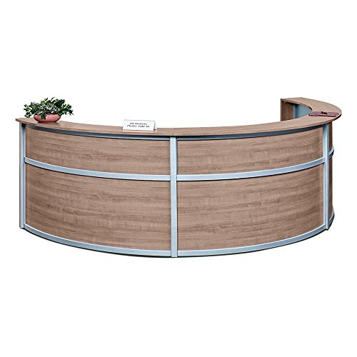 Triple Laminate Curved Reception Desk - 142''W x 72''D Stone Walnut Laminate/Silver Trim Dimensions: 142''W x 72''D x 45''H Weight: 478 lbs.Line Drawing by NBF Signature Series