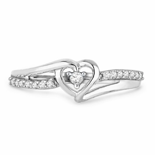 Sterling Silver Round Diamond Heart Promise Ring (1/10 cttw)Size 5 by D-GOLD (Image #1)