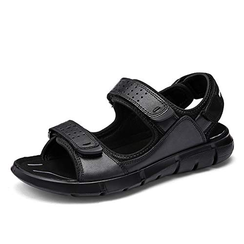 Price comparison product image Mens Sports Sandals Genuine Leather Walking Sandals Outdoor Summer Casual Beach Open Toe Athletic Hiking Sandals Shoes Lightweight Breathable, 2, 40