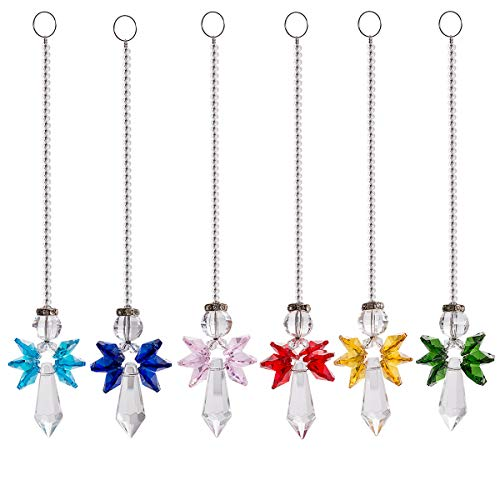 (Rainbow Guardian Angel Crystal Suncatcher for Home/Car Decoration & Porch Decor & Hangings Crystal Glass Ornament Pack of 6)