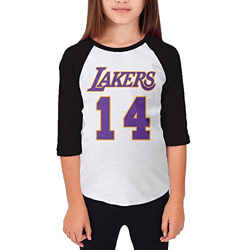 Price comparison product image Hotboy19 Youth Girls Los Angeles #14 Basketball Raglan Baseball T Shirt Black Size L