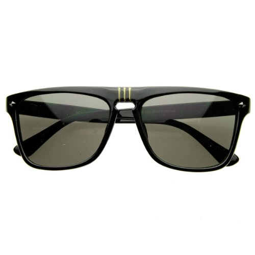 zeroUV - Flat Top Designer Shades Casual Modern Aviator Sunglasses (Shiny - Sunglasses Ridiculous