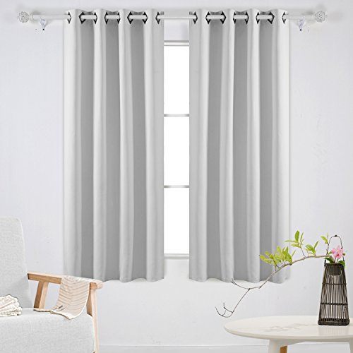 Deconovo Fashionable Grommet Blackout Curtains Thermal Insulated Window Coverings Window Treatments for Living Room 52W x 63L Inch Platinum Set of 2