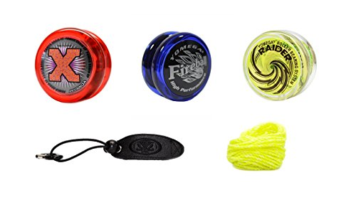 Brain Lube (Yomega Power Up! Yoyo 3-Pack – Power Brain XP with Smart Switch, Fireball and Raider Yoyos - Plus Holster and Extra String. (Colors Vary))