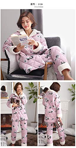 Coral And 47 57kg Outside 164cm Clothing Pajamas Pajamasx 58 Wear Velvet Can Three 168cm 65kg L158 Xl162 Autumn layer Suits Winter Thick Plus Warm Cute Ladies Quilted 7a5qF4