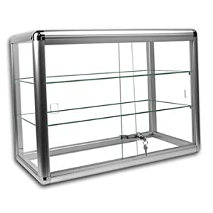 Elegant Silver Anodized Aluminum Display Table Top Tempered Glass Show  Case. Sliding Tempered Glass Sliding Doors With Key Lock