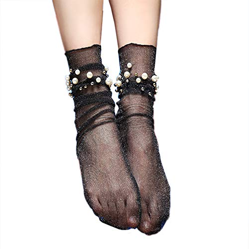 TRENTON Women Socks, Sexy Faux Pearl Glitter Transparent Ultra Thin Elastic Middle Tube Socks -