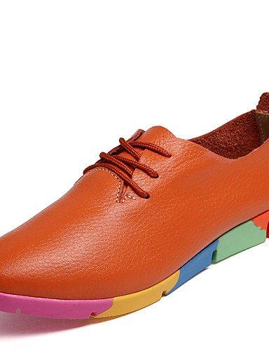 Mujer puntiagudos Casual Orange 5 oxfords Zapatos Uk4 Cn37 De Eu37 Cn41 Orange Y 7 us9 5 Uk7 5 Blanco cuero Eu40 negro Zq Naranja oficina Plano Trabajo tacón us6 Azul nq1XEnYgv