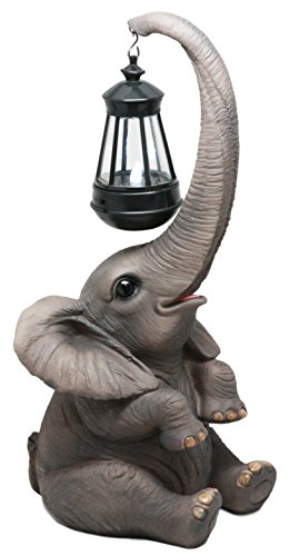 Ebros Trunk Lights Lucy The Elephant Statue With Solar LED Light Lantern Lamp Elephant Calf Figurine by Ebros Gift