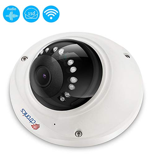 Ctronics Dome Security Camera with 150° Wide View, 720P CCTV WiFi IPCamera, Night Vision, Motion Detection, iOS/Android App, Email Alert Support Max 128GB Micro SD Card(not Included) For Sale