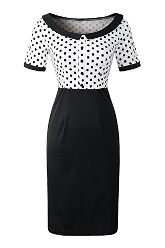 (Pinup Fashion Women's Vintage 1950s Polka Dots Patchwok Pencil Dress Bodycon Business Office Dresses)