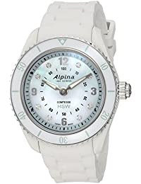Women's 'Comtesse' Swiss Quartz Stainless Steel and Rubber Fitness Watch, Color:White (Model: AL-281MPWND3V6)