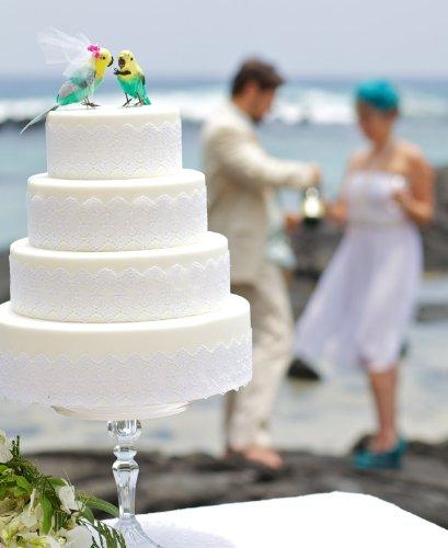 "Parakeet Cake Topper: ""Bride and Groom"" Love Bird Wedding Cake Topper in Aqua Green and Sunshine Yellow"