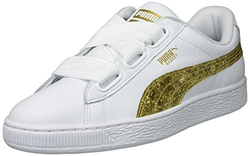 PUMA Women's Basket Heart Glitter Sneakers - White-Gold (Large Image)