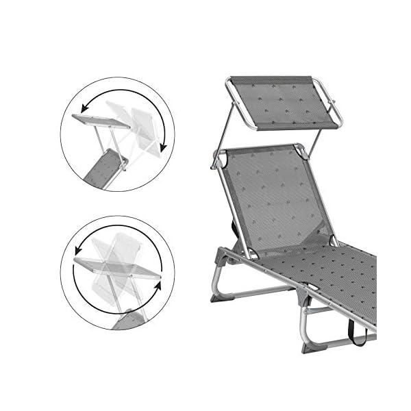 417uneofQOL SONGMICS Sonnenliege, Liegestuhl, Gartenliege, Rückenlehne und Sonnendach verstellbar, klappbar, leicht, 55 x 193 x 31…