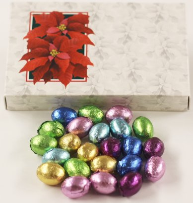 (Scott's Cakes Foil-Wrapped Solid Chocolate Eggs in a 1 Pound Poinsettia Box)