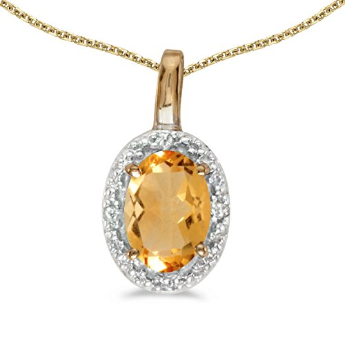 FB Jewels Solid 14k Yellow Gold Genuine Birthstone Oval Citrine And Diamond Pendant (0.31 Cttw.)