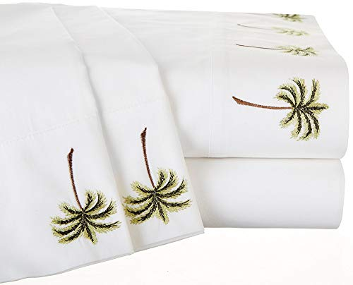 Panama Jack Embroidered Hem Palm Tree Sheet Set Queen White/Green