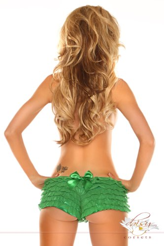 Daisy Corsets Women's Mesh Ruffle Shorts with Bow, Green, Large (Yandy.com Costume)