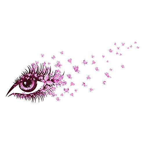 DealMux Butterfly Girl Eye DIY Wall Sticker Home Decoration Living Room Bedroom Decor Nursery Room Decorative Mural Creative Wall Decals Removable Pink