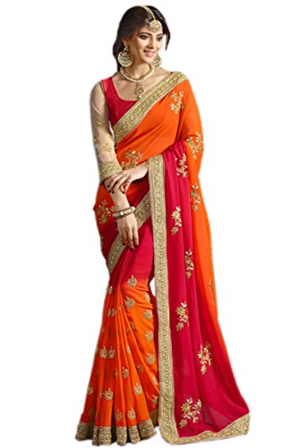 Delisa Designer Indian ethnic party wear Women's Saree with Blouse in Georgette Designer Saree (Orange and Red Color)