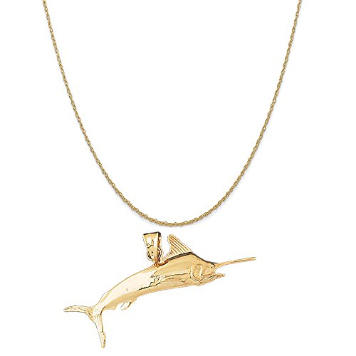 14k Yellow Gold Marlin Pendant on a 14K Yellow Gold Rope Chain Necklace, 18