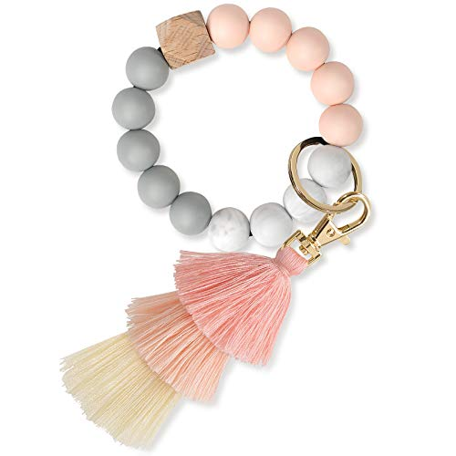 Keychain Bracelet Wristlet, YUOROS Bead Key Ring Chain for Women with Bohemian Tassel for Car (Pink)