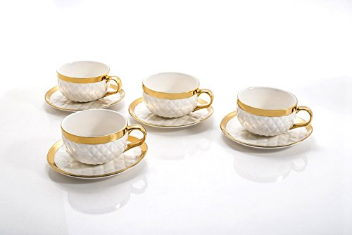 Yedi YCC691, 9 Oz Porcelain Teacups and Saucers, Vintage Tea Set w/Gold Rim, Quilted Collection Ceramic Cup & Saucer, Set of 4