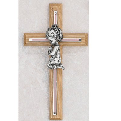 7 PINK OAK GIRLS WALL CROSS BABY INFANT CHRISTENING BAPTISM SHOWER McVan