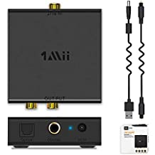 1Mii Digital to Analog Converter,192kHz Optical to RCA Converter with Optical Audio Cable, Digital SPDIF TOSLINK to Stereo L/R and 3.5mm Jack Audio Adapter for Xbox HDTV DVD PS4 Headphone