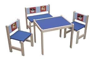 roba 50718 - Mesa + banco + 2 sillas de madera maciza para niños (asientos acolchados, respaldo de tela, diseño piratas), color azul y plateado [importado de Alemania]