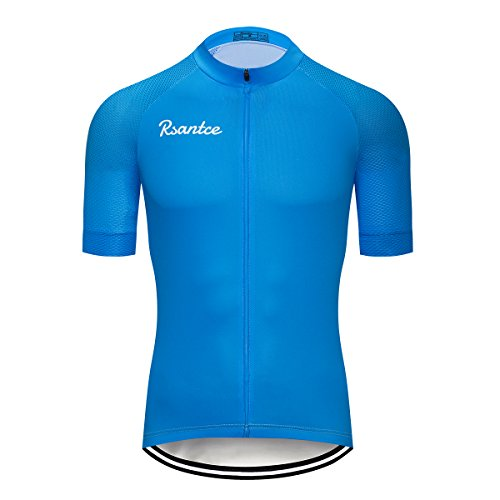 Rsantce Pro Team 2018 MTB Men Summer Short Sleeve Bike Cycling Jersey Clothes Bicycle Triathlon Shirt Wear Clothing (S, Blue)