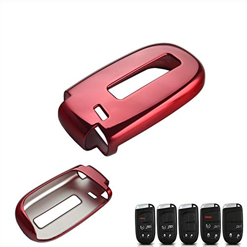DEWHEL TPU Key Fob Protective Cover Case for Dodge Charger Challenger Dart Durango Journey, Chrysler 200 300, Jeep Grand Cherokee, Renegade etc (Chrome Red) ()