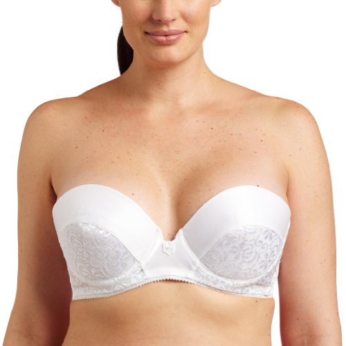Carnival Womens Low Plunge Tuxedo Lace Bra, White, 40C