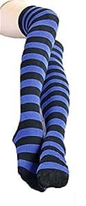 1 Pair 8 Colors Black Stripe Socks the Knee Knee-high Stockings for Girls YSW03H(Blue)