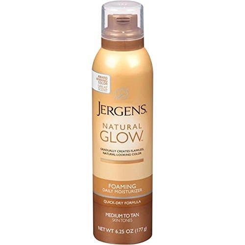 Jergens Natural Glow Foaming Daily Moisturizer Medium to Tan Skin Tones, 6.25 OZ (Instant Bronze)