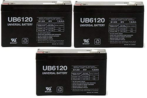 Universal Power Group 6VOLT 12AMP DEEP-Cycle Rechargeable Sealed Energy Storage Battery 12AH 6V - 3 Pack