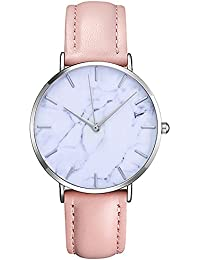 Fashion Men Women Slim Leather Band Analog Quartz Watches Classic Casual Business Wristwatch. (Pink)