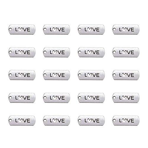 Pandahall 20pcs Tibetan Antique Silver Rectangle with Word Love Pendants Cadmium Free & Lead Free Message Necklace Charms Tag Links