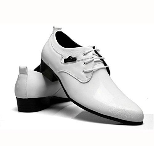 WZG zapatos del negocio de los nuevos hombres de los zapatos de cuero de los hombres de calidad alta de charol señaló zapatos de encaje de encaje zapatos de vestir de la unión de los hombres White