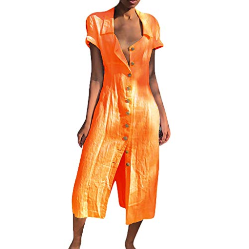 ☀️EDC 2019 Women's Solid Blouse Dresses Vintage Casual Loose V-Neck Button Short Sleeve Slimming Party Long Shirts Dress (Orange, XXXL)