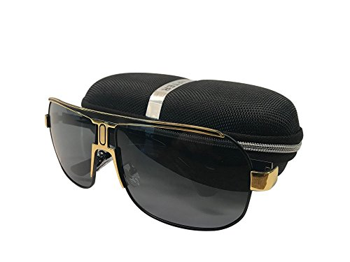 HD-Design Italia Men's Sports Aviator Polarized Metal Frame Safe Driving Sunglasses (Gold Frame)