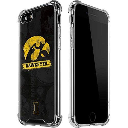 Skinit Iowa Hawkeyes Distressed Logo iPhone 7 Clear Case - Officially Licensed University of Iowa Phone Case - Slim, Lightweight, Transparent iPhone 7 Cover (Iowa Hawkeyes Iphone 4 Case)