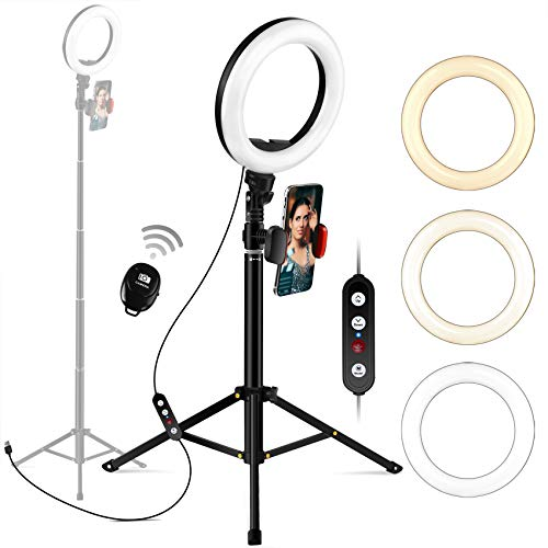 """Ring Light with Tripod Stand and Phone Holder, Megoal Selfie Ring light 8"""" Dimmable LED Circle Halo Ringlight for Live Steaming Make Up Photo Photography Vlogging YouTube Video"""