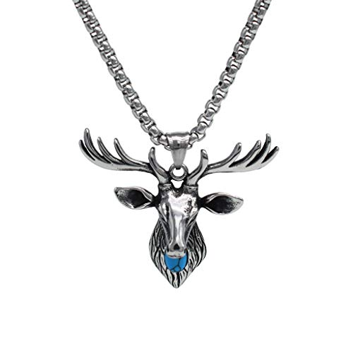 IFUAQZ Men's Stainless Steel Vintage Deer Head Antler Pendant Necklace Turquoise Stone Inlay 26inch Chain